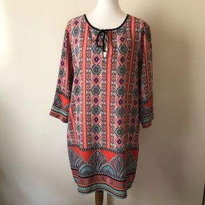 Gibson Latimer Boho Printed Peasant Dress Sz XL